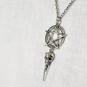 Gothic Silver Pentagram & Skull Necklace